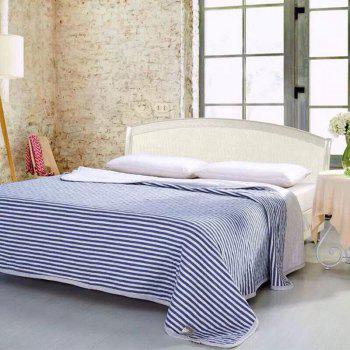 100 Percent Striped Long Stapled Cotton Bed Blanket - DEEP BLUE FULL
