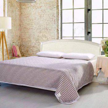 100 Percent Striped Long Stapled Cotton Bed Blanket - BROWN FULL