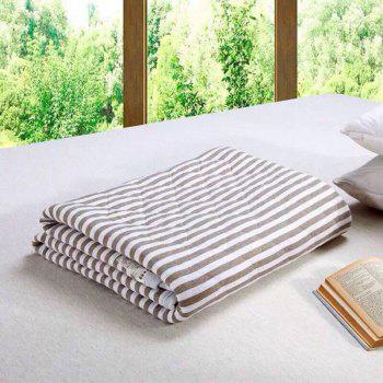 100 Percent Striped Long Stapled Cotton Bed Blanket - BROWN BROWN