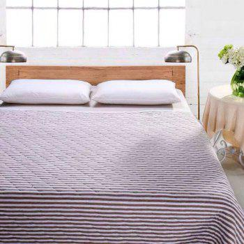 100 Percent Striped Long Stapled Cotton Bed Blanket - BROWN QUEEN