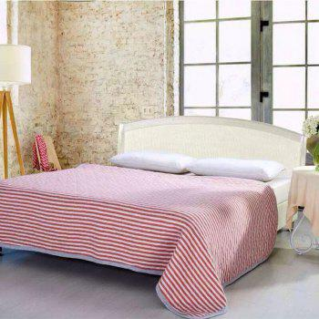 100 Percent Striped Long Stapled Cotton Bed Blanket - RED FULL