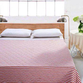 100 Percent Striped Long Stapled Cotton Bed Blanket - RED RED