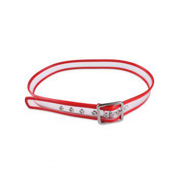 Candy Color Brim Transparent Pin Buckle Belt - RED RED