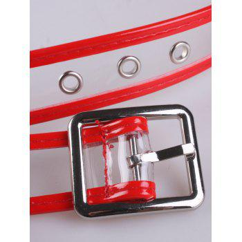 Candy Color Brim Transparent Pin Buckle Belt - RED