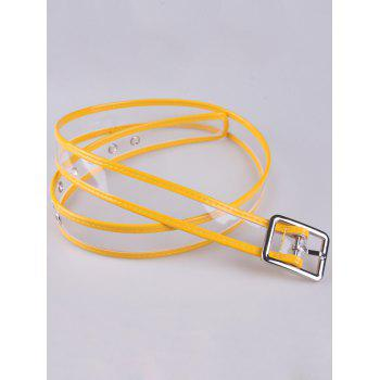 Candy Color Brim Transparent Pin Buckle Belt -  YELLOW