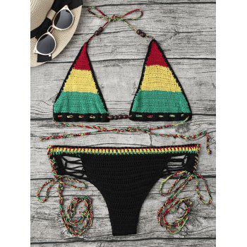 Rainbow Crochet Halter String Bikini Set