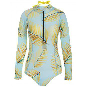Long Sleeve Zip One Piece Swimsuit with Bra