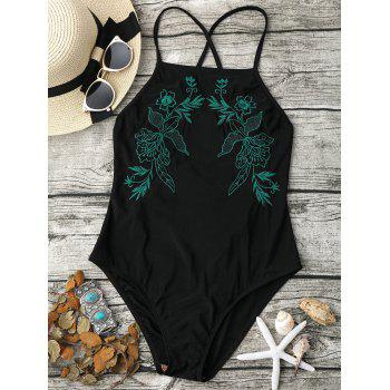 Embroidered Lace-Up Cross Back Swimsuit