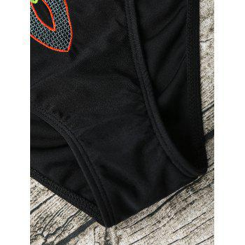 Lace Up Cross Back Embroidered Swimsuit - BLACK M