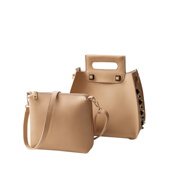 Crossbody Bag and Studded Handbag -  KHAKI