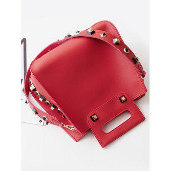 Crossbody Bag and Studded Handbag -  RED