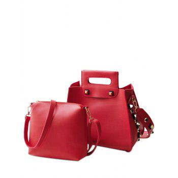 Crossbody Bag and Studded Handbag - RED RED