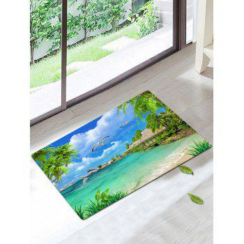 Palm Bird Print Skidproof Bath Rug