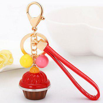 Artificial Leather Rope Cup Cake Key Chain - RED RED