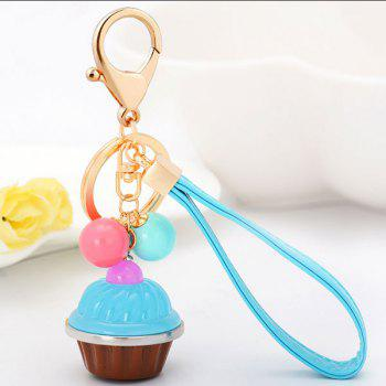 Artificial Leather Rope Cup Cake Key Chain - LIGHT BLUE LIGHT BLUE