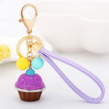 Artificial Leather Rope Cup Cake Key Chain - PURPLE PURPLE