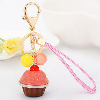 Artificial Leather Rope Cup Cake Key Chain - PINK PINK