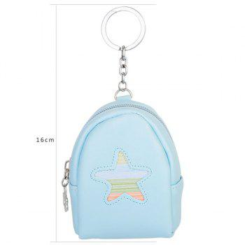 Artificial Leather Coin Purse Key Chain -  LIGHT BLUE