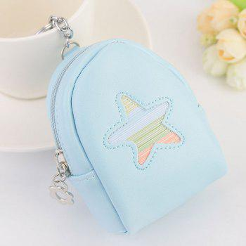 Artificial Leather Coin Purse Key Chain - LIGHT BLUE LIGHT BLUE
