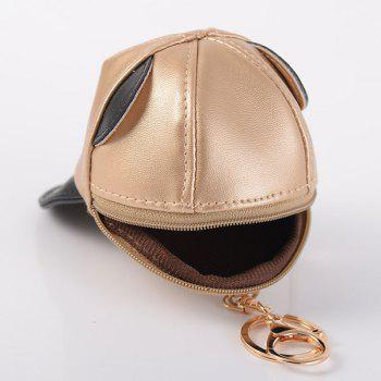 Baseball Hat Shaped Coin Purse Key Chain -  BLACK