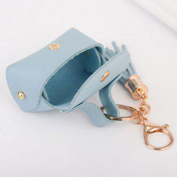 Artificial Leather Coin Purse Tassel Key Chain -  PINK