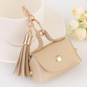 Artificial Leather Coin Purse Tassel Key Chain - PLATINUM PLATINUM