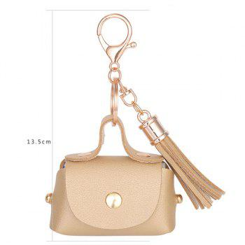 Artificial Leather Coin Purse Tassel Key Chain -  PLATINUM