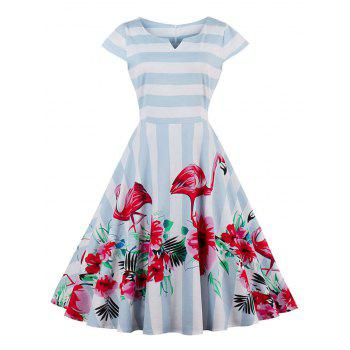 Floral Flamingo Print Striped Vintage Dress