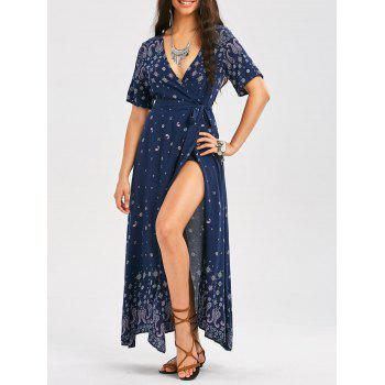 Plunging Bohemia Paisley Print Wrap Maxi Dress