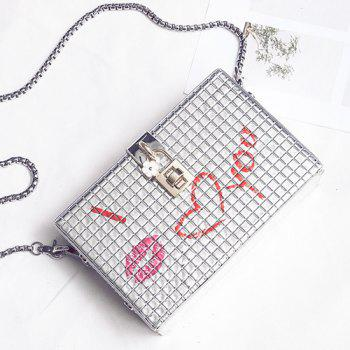 Lock Embellished Chain Crossbody Bag -  SILVER