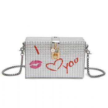 Lock Embellished Chain Crossbody Bag - SILVER SILVER