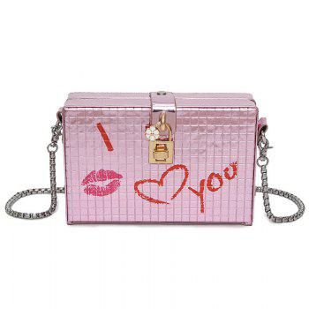 Lock Embellished Chain Crossbody Bag - PINK PINK