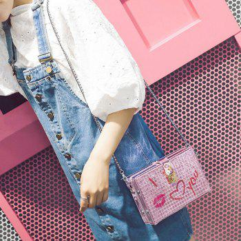 Lock Embellished Chain Crossbody Bag -  PINK