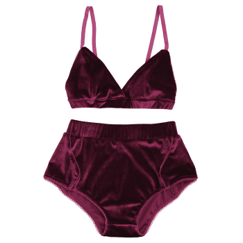 Velvet High Waist Bra Set - BURGUNDY BURGUNDY