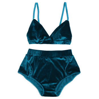 Velvet High Waist Bra Set - MALACHITE GREEN S