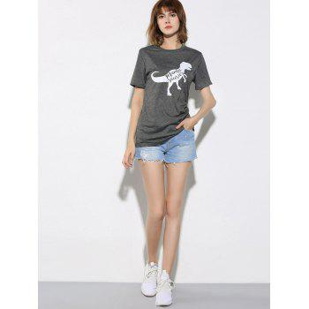 Dinosaur and Letter Pattern Short Sleeve T-Shirt - GRAY GRAY