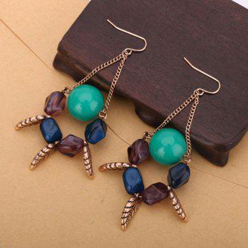 Vintage Resin Geometric Ball Hook Earrings - EMERALD GREET