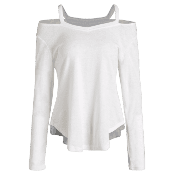 Cut Out V Neck Sweater - WHITE M