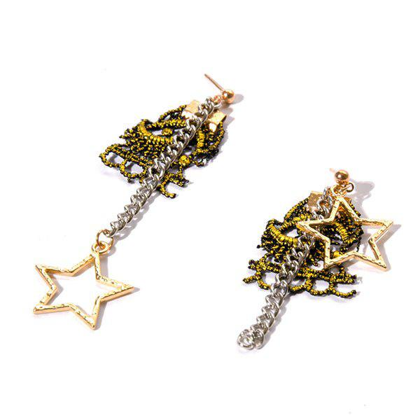 Star Crochet Moon Chain Earrings - BLACK