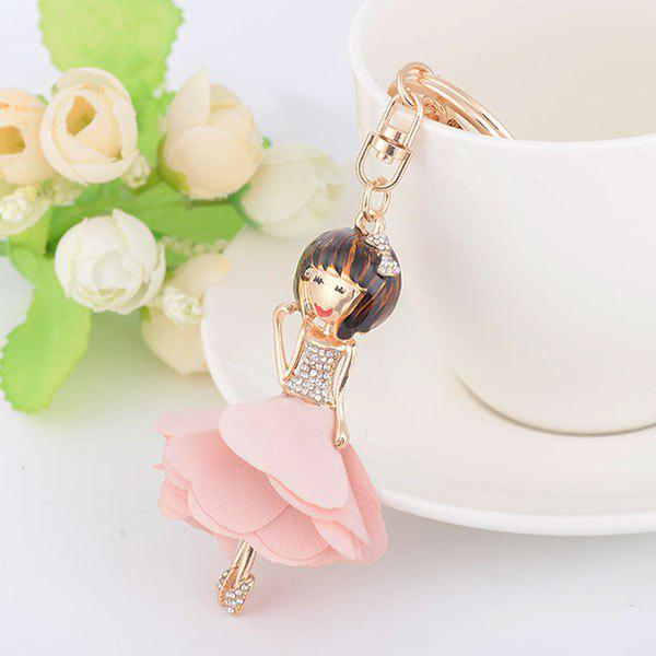 Rhinestone Fairy Bow Key Chain - ROSE PÂLE