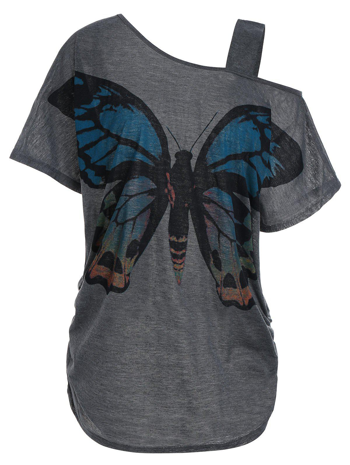 Butterfly Print Skew Collar Plus Size Tunic Top dragonfly print skew collar plus size tee