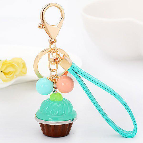 Artificial Leather Rope Cup Cake Key Chain - LIGHT GREEN