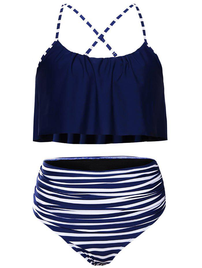 Women Plus Size Striped High Waisted Bikini Set Tankini - PURPLISH BLUE S