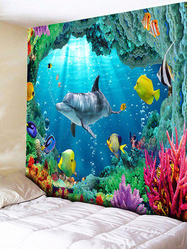 3D Sea World Printed Rectangle Wall Hanging Tapestry - OCEAN BLUE W91 INCH * L71 INCH