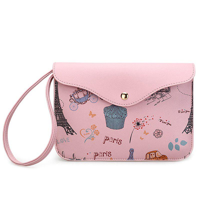 Cartoon Printed PU Leather Wristlet - PINK