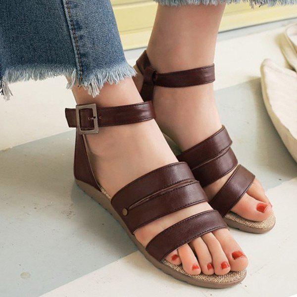 Belt Buckle Faux Leather Flat Heel Sandals - BROWN 39