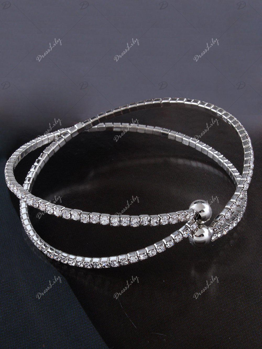 Alloy Rhinestone Double Crossed Loops Bangle - SILVER