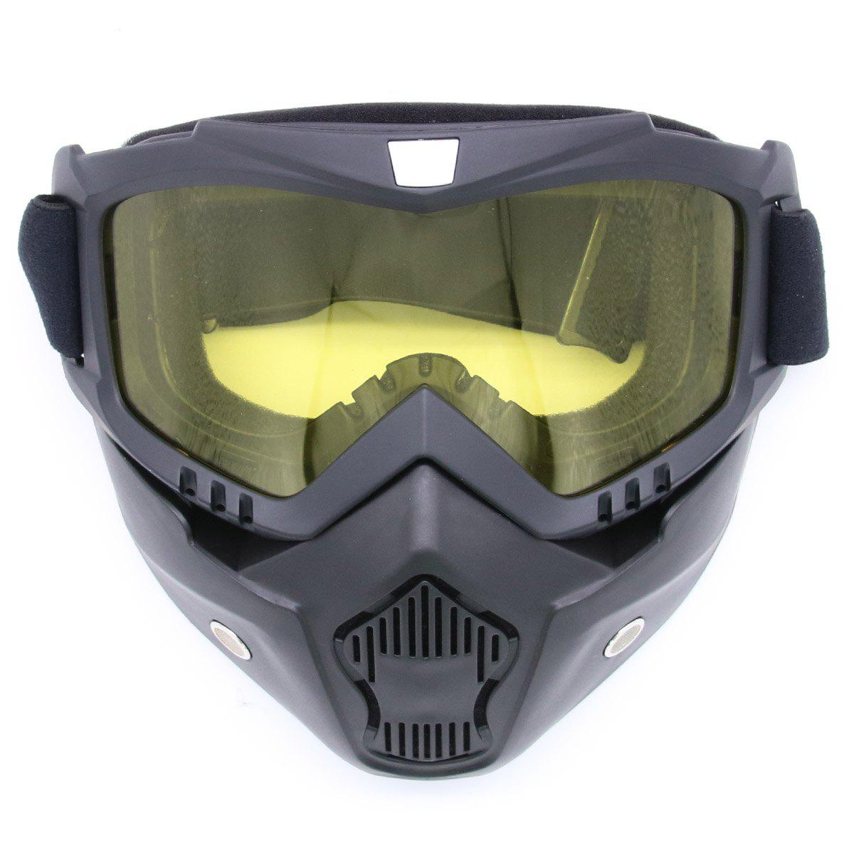 Detachable Breathable Motorcycle Goggles - YELLOW
