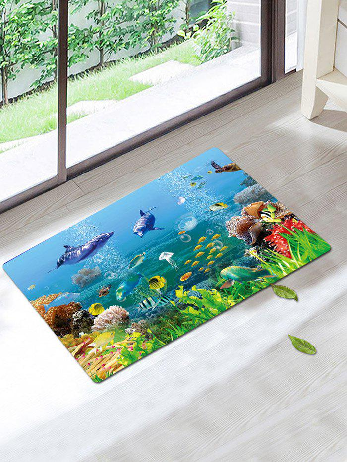 Coral Fleece Skidproof Underwater Fish Bath Rug - COLORFUL W16 INCH * L24 INCH