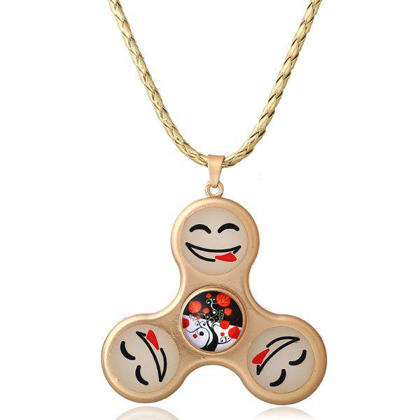 Smile Decoration Fidget Spinner Pendant Necklace - GOLDEN